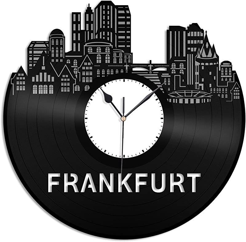 VinylShopUS Frankfurt Vinyl Wall Clock City Skyline Gift Home Room Unique Gift For Man Woman Home Decoration