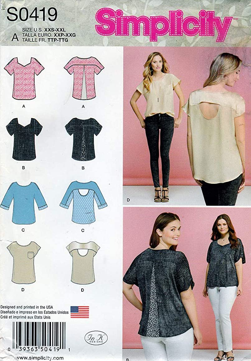 Simplicity Sewing Pattern S0419 c2015 Misses Tops w/Fabric Variations, Size A (XXS-XXL)