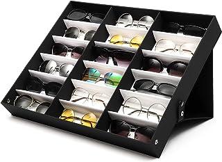 AMERTEER 18 Slot Sunglasses Storage Box Eyewear Display Storage Case Pu Leather with Foldable Lid (White Lining/Black Lid)