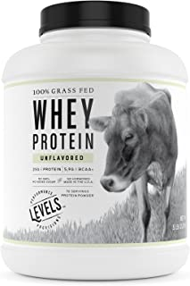 Levels 5LB Unflavored 100% Grass Fed Whey Protein, No GMOs, Undenatured