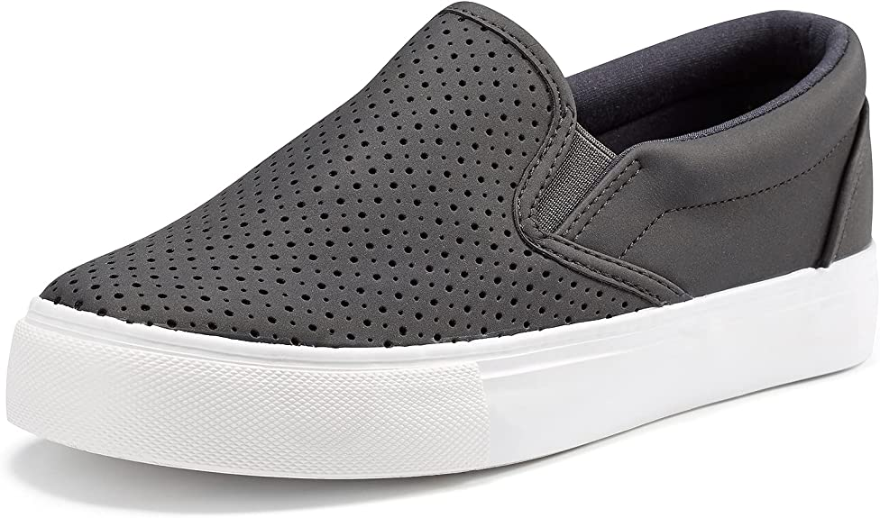 JENN ARDOR Women's Fashion Sneakers Perforated Slip on Flats Comfortable Walking Casual Shoes