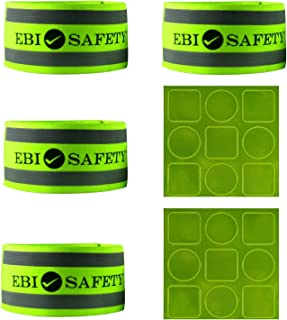 Reflective Ankle Band Set (4 Bands / 2 Pairs) + Reflector Stickers. High Visibility Safety Gear/Sports Accessories for Running/Walking/Cycling. Use as Wristbands/Armband/Leg Straps