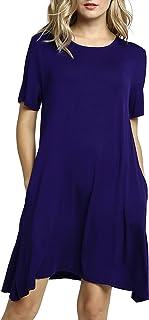 Afibi Women's Short Sleeve Pockets Loose Casual Swing T-Shirt Dresses