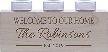 LifeSong Milestones Personalized Family Home Handcrafted Candle Holder Decor Gift - Custom Housewarming Engraved Maple Wood K