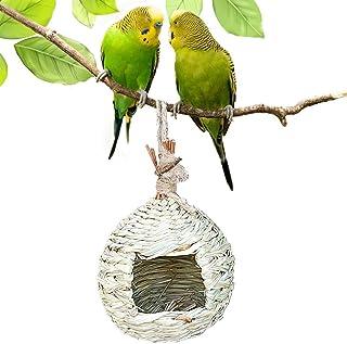 Round Straw Bird House Outdoor Hanging Bird Feeder Hand Woven Bird Nest Bird Cage