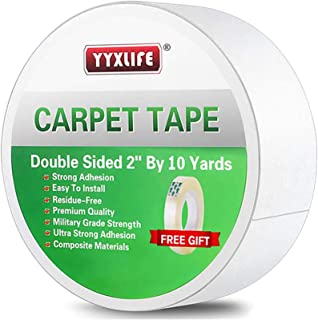 YYXLIFE Double Sided Carpet Tape for Area Rugs Carpet Adhesive Rug Gripper Removable Multi-Purpose Rug Tape Cloth for Hard...