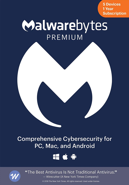 Malwarebytes Premium | 1 Year, 5 Device | PC, Mac, Android [Online Code]