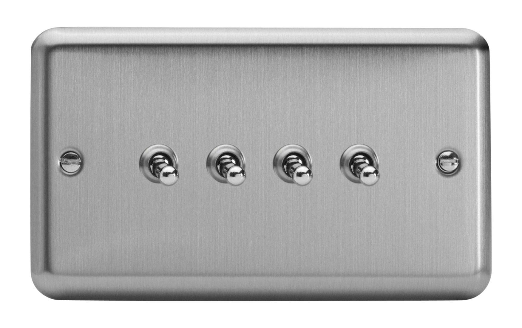 Varilight 4 Gang 10 Amp Toggle Switch Classic Matt Chrome XST9