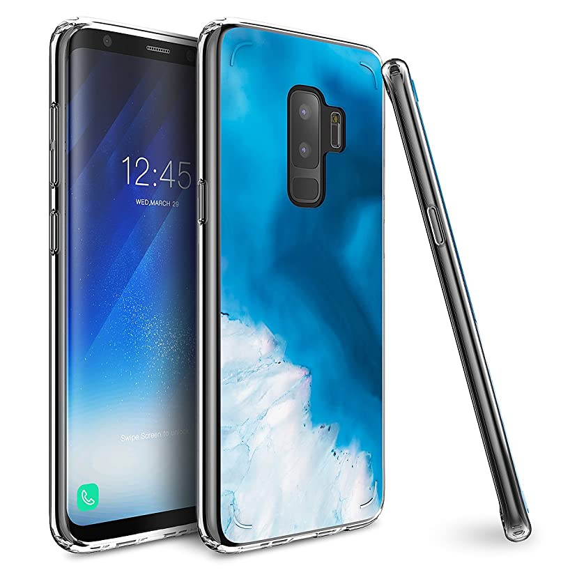 Mueral Compatible/Replacement Protective Case Samsung Galaxy S9 Plus - Blue/Aqua Marble Geode Design