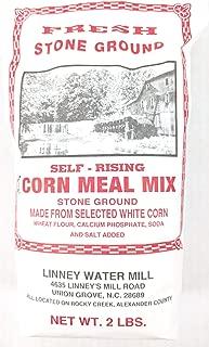 Linney's Water Mill Fresh Stone Ground Self Rising Cornmeal Select White Corn 2 lb. Bag No Preservatives