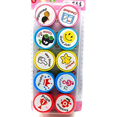 Fusine 10 Piece Stamps for Kids Motivation and Reward Theme Also Pencil Tops Prefect Gift for Teachers Parents and Students