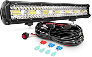 Nilight ZH409 20Inch 420W Triple Row Flood Spot Combo 42000LM LED Light Bar with Heavy Duty Off-Road Wiring Harness, 2 Years Warranty
