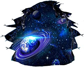 Creative 3D Blue Cosmic Galaxy Wall Decals Removable PVC Magic Milky Way Outer Space Planet Broken Wall Stickers Murals De...