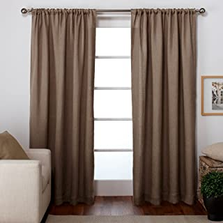 Exclusive Home Burlap Window Curtain Panel Pair with Rod Pocket 54x84 Natural 2 Piece