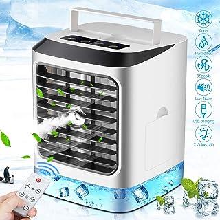 Mini Enfriador de Aire,Aire Acondicionado Portátil, 4 en 1 Ventilador Humidificador Purificador con Mango, USB Air Cooler con 3 Velocidades y 7 Colores LED,con Control Remoto, para hogar y Oficina