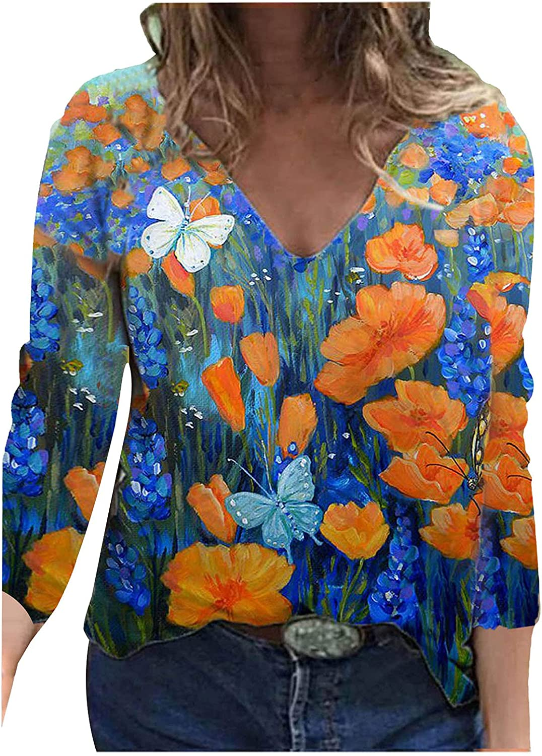 Long Sleeve Shirts for Women Fashion V-Neck Blouse Tops Loose Ladies Sweatshirts Casual Floral Printed Tees