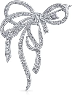 Large Fashion Statement Ribbon Pave Cubic Zirconia Wedding Bow Brooch Pin for Women Silver Plated Brass