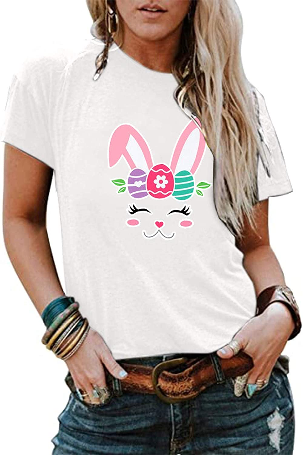Easter Shirts for Women,Womens T Shirts Cute Easter Print Graphic Tees Summer Funny Short Sleeve Tops T-Shirt Tunics Blouses