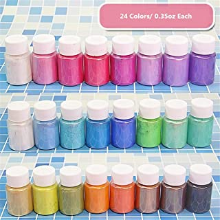 Mica Powder 24 Colors 240g/8.47oz Set for Epoxy Resin, Soap Making, Bath Bombs, Polymer Clay, Tumblers, Makeup, Lip Gloss, Nail Art,Premium Cosmetic Grade Mica Pigment Powder Gift Box Packaging