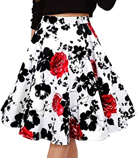 Musever Women's Pleated Vintage Skirts Floral Print Casual Midi Skirt