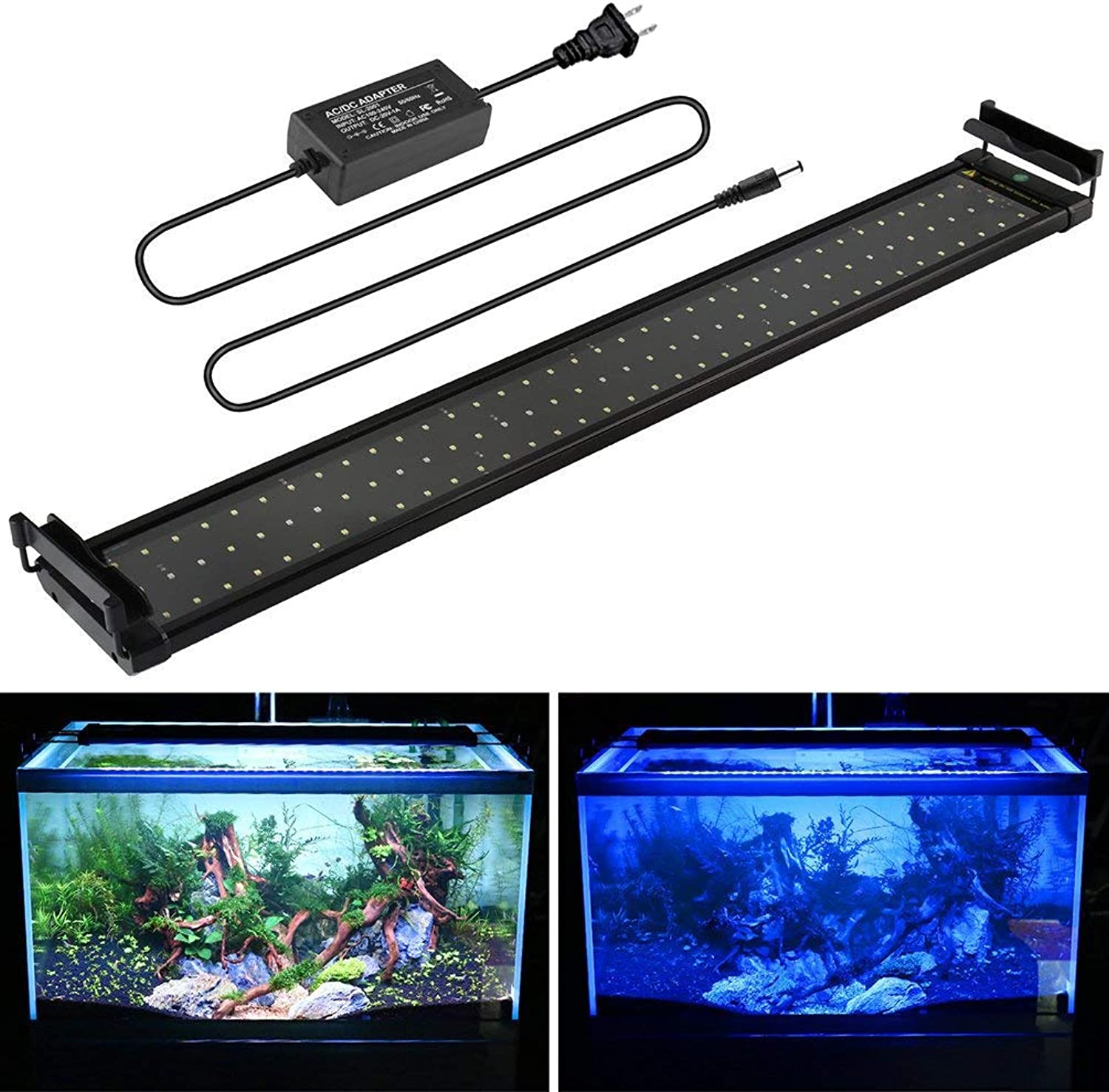 Lightess 72 LED Aquarium Light 14W Super Brightness Fish Tank Light with Extendable Bracket 2 Modes with bluee and White Bulb, 20 inches to 27 inches, 6500K