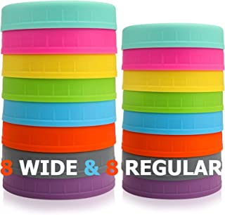 Aozita [16 Pack] Colored Plastic Mason Jar Lids Fits Ball, Kerr & More - 8 Wide Mouth & 8 Regular Mouth - Food-Grade Stora...