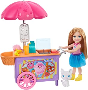 Barbie Club Chelsea Doll and Snack Cart Playset, 6-inch Blonde with Pet Kitten and Accessories, Gift for 3 to 7 Year Olds
