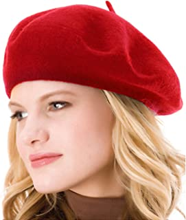Womens Solid Color Beret 100% Wool French Beanie Cap Hat