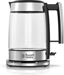 Russell Hobbs Glass 1.7L Electric Kettle, Black & Stainless Steel, KE7900BKR