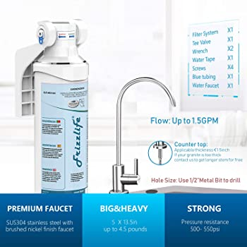 Frizzlife Under Sink Water Filter-Quick Change Under Counter Drinking Water Filtration System-0.5 Micron High Precise...