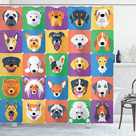 Amazon Com Ambesonne Dog Shower Curtain Dog Breeds Profiles Pets Shepherd Terrier Labrador Domestic Animals Illustration Cloth Fabric Bathroom Decor Set With Hooks 84 Long Extra Purple Green Home Kitchen