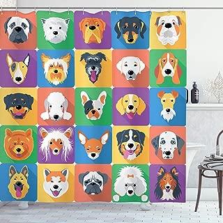 Ambesonne Dog Shower Curtain, Dog Breeds Profiles Pets Shepherd Terrier Labrador Domestic Animals Illustration, Cloth Fabric Bathroom Decor Set with Hooks, 75