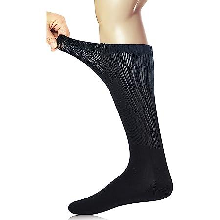 Yomandamor 3 Pairs Mens Cotton Diabetic Knee High Seamless Socks,6-11