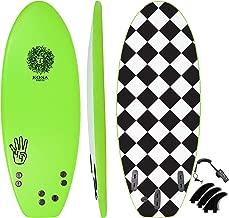 KONA SURF CO. The 4-4 Soft Top Foam Short Softboard Hybrid Boogie Bodyboard Surfboard Includes Fins and Leash