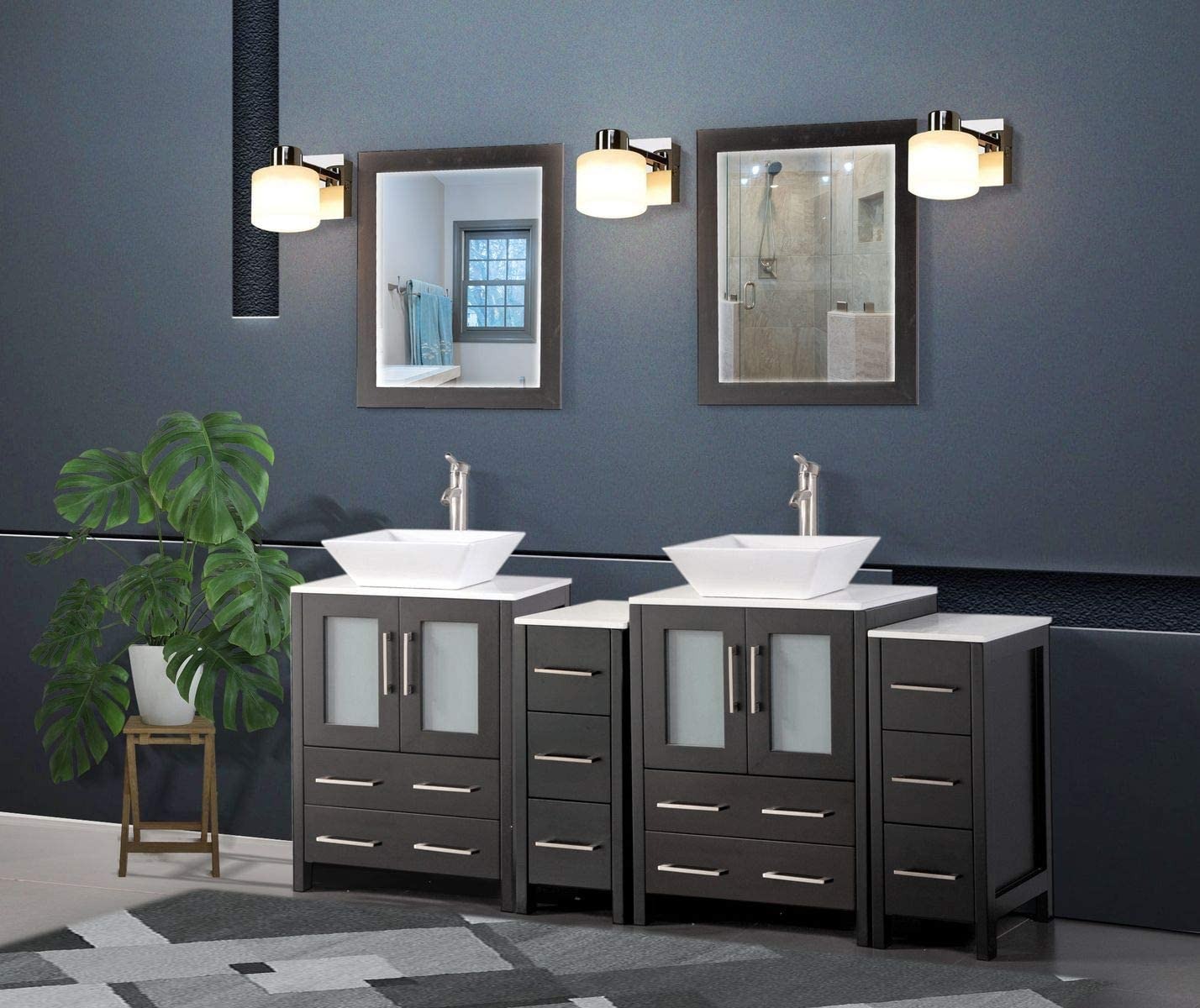 Amazon Com Vanity Art 72 Inch Double Sink Bathroom Vanity Compact Set 4 Cabinets 2 Shelves 10 Dove Tailed Drawers Quartz Top And Ceramic Vessel Sink Bathroom Cabinet With Free Mirror Va3124 72 E Tools
