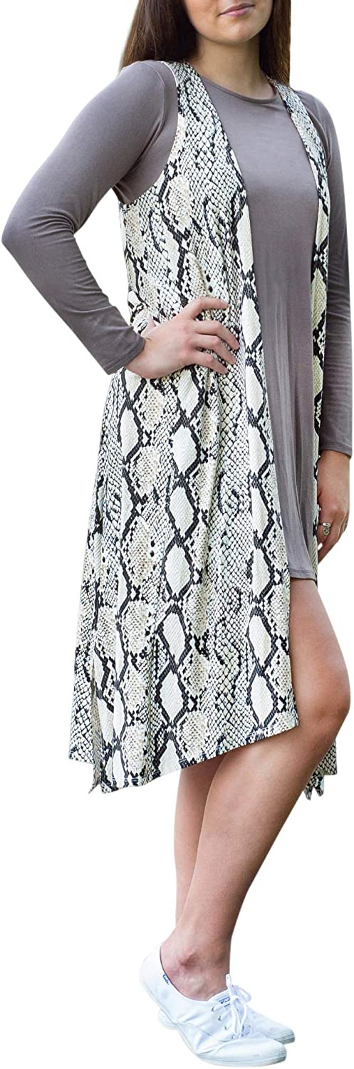 Southern Couture Duster Sweater Black and White Snake Print Cotton Fabric Long Vest