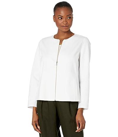 Eileen Fisher Round Neck Zip-Up Jacket in Organic Cotton Ponte