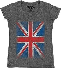 Shop4Ever Vintage Union Jack British Flag Women's V-Neck T-Shirt United Kingdom Flag Shirts Slim FIT