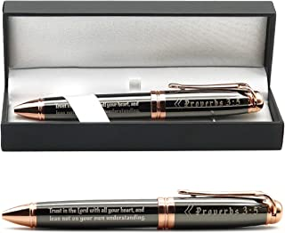 Proverbs 3:5 Engraved Gift Pen with Presentation Gift Box - Inspirational Christian Scripture Bible Prayer Gifts for Men Women