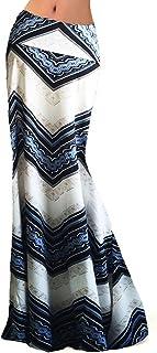 Novias Women Fashion Multicolored Print High Waist Maxi Skirt Long Skirt