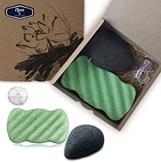 Ilove Konjac Sponge Set (2 Pack) 100% Natural Cleansing Exfoliating Facial and Body Konjac Sponges Original Konjac with Bamboo Charcoal and Green Tea Large Size Suction Hook as a Gift