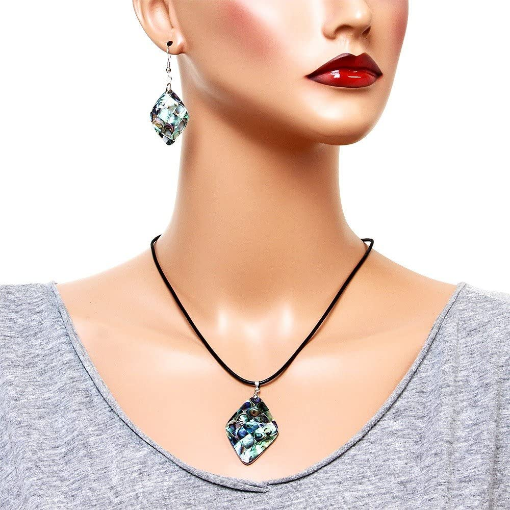 Falari Green Abalone Shell Necklace Earring Set Black Leather Cord