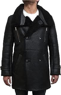 Brandslock Mens Genuine Shearling Sheepskin Leather Warm Duffle Trench Coat