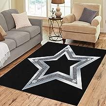 Pinbeam Area Rug Bling Silver Star Diamonds Jewel Shiny Glamour Flashy Home Decor Floor Rug 5' x 7' Carpet