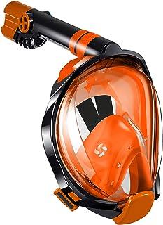 WSTOO Full Face Snorkel Mask,180 Degree Panoramic Anti-Fog Anti-Leak with Camera Mount Foldable Snorkel Mask