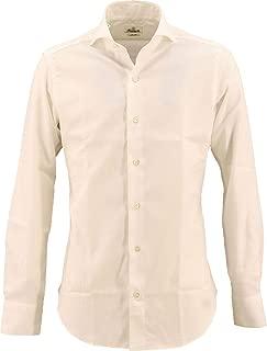 [GIANNETTO ジャンネット] メンズ スリムフィット カッタウェイ コットン ダイヤメッシュシャツ WASH SLIM FIT 172300L84 001(ホワイト)