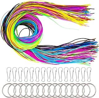 AIM Cloudbed 200 PCS Scoubidou Strings Cordón de Plástico Hecho a Mano Trabajo a Mano Gimp String para Hacer Joyas en 20 Colores con Clips a Presión y Llaveros