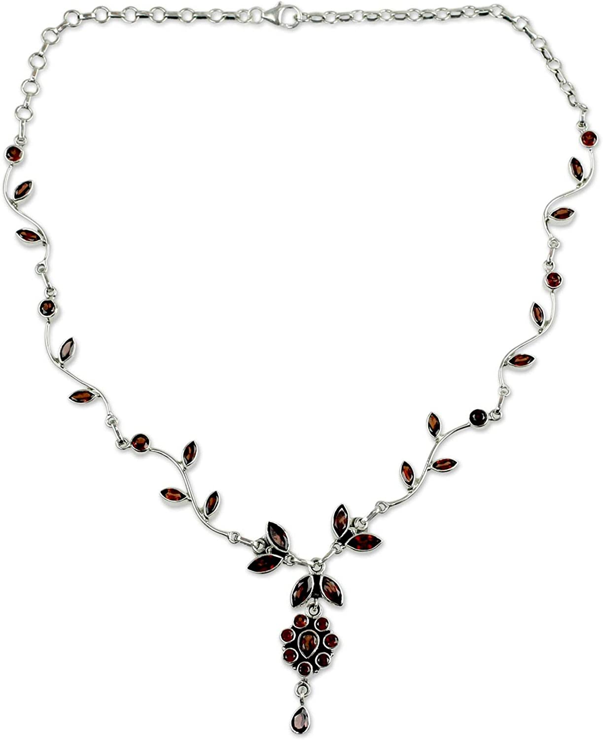 NOVICA Garnet .925 Sterling Silver Flower 14.2 Pendant Necklace Max 49% OFF Free shipping on posting reviews