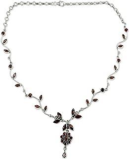Garnet .925 Sterling Silver Flower Pendant Necklace, 14.25