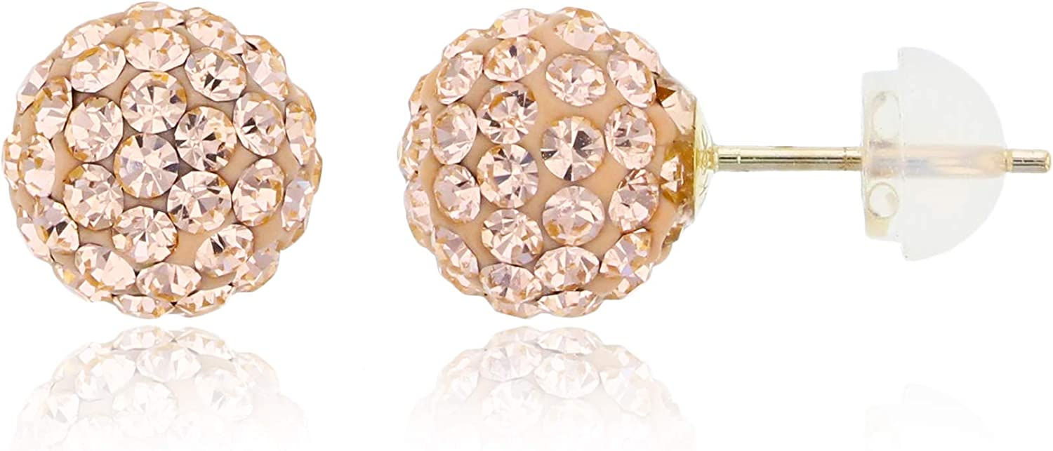 14K Yellow Gold 8x8mm Indianapolis Mall Champagne Stud Lowest price challenge Earring Fireball Crystals